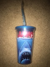 New Jaws 16 oz Travel Tumbler Reusable Ice Cubes Cup Glass Official Movi... - $21.55