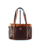 Auth CELINE Macadam PVC Canvas & Brown Leather Hand Bag Multi Chamber Ba... - $147.51