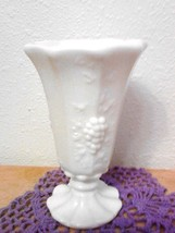 Westmoreland Milkglass Vase Paneled Grape Marked WM, Mid century - $14.85