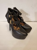 Qupid Black & Leopard Print Mary Jane Platform Stiletto Heels Women's Size 7 - $17.00