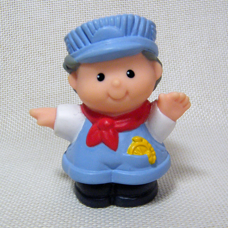 New Fisher Price Little People TRAIN CONDUCTOR ENGINEER GIRL in Red Hat Lady