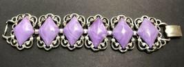 Vintage Retro Signed Coro Diamond Shaped Faux Purple Tone Silver Tone Bracelet - $15.83