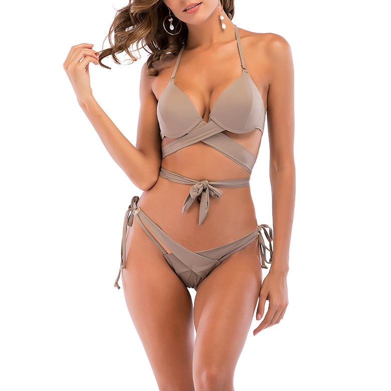 Women's Sexy Bandage Push Up Cross Over Two Pieces Bikini Set 2018 New