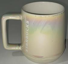 Starbucks 2019 White Pearl Iridescent Rainbow Drip Holiday Mug 12 oz EUC - $16.82