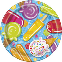 "Popsicle Party 8 Paper 9"" Dinner Lunch Plates Summer Pool Beach - $3.29"