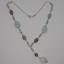 Silver necklace 925, Aquamarine Oval, Smoky Quartz Oval and Round, Pendant image 2