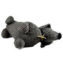 Delton Black Checkered Tweed Fabric Dachshund Puppy Dog Door Stopper Doorstop image 5