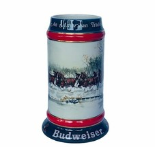 Budweiser Holiday Stein Mug cup Christmas Clydesdale 1992 Perfect Susan ... - $38.65