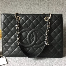 AUTH CHANEL QUILTED CAVIAR GST WITH RECEIPT GRAND SHOPPING TOTE BAG BLACK SHW