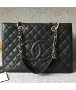 AUTH CHANEL QUILTED CAVIAR GST WITH RECEIPT GRAND SHOPPING TOTE BAG BLAC... - $2,499.00