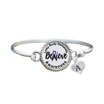 Custom Lewy Body Dementia Awareness Believe Silver Bracelet Jewelry Initial - $13.80+