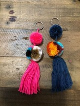 2 Pcs Wayuu Colorful Pom Pom Tassel Keychain (set #5) - $20.00