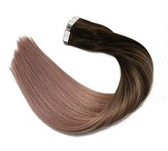 Tape In Hair Extensions Human Hair Balayage Ombre Hair 20pcs/50g Per Set Dark Br image 3