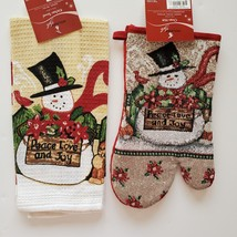 SNOWMAN TAPESTRY KITCHEN SET 2pc Christmas Towel Oven Mitt Winter Holiday image 1