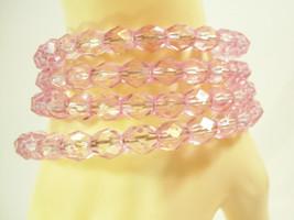 SPARKLING PALE PINK FACETED LUCITE BEADS WRAP BRACELET ROMANTIC VINTAGE ... - $15.83