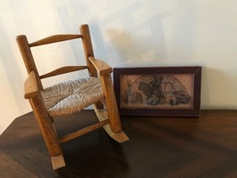 Vintage Oak and Wicker Doll Rocking Chair & Old Toys Framed Art Raggedy Ann - $85.82