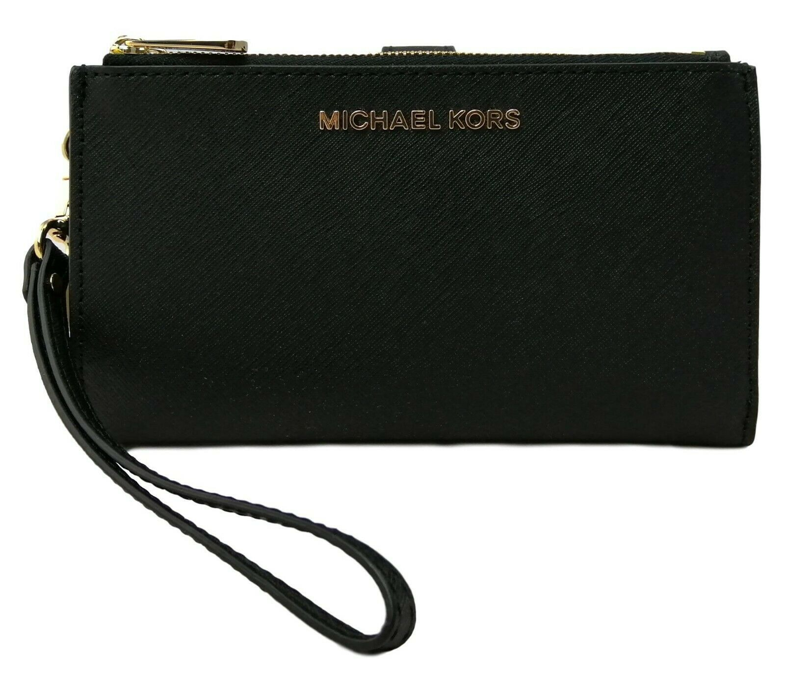 Primary image for Michael Kors Purse Bifold Wallet Wristlet Black Saffiano Leather