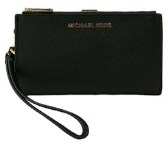 Michael Kors Purse Bifold Wallet Wristlet Black Saffiano Leather - $205.43
