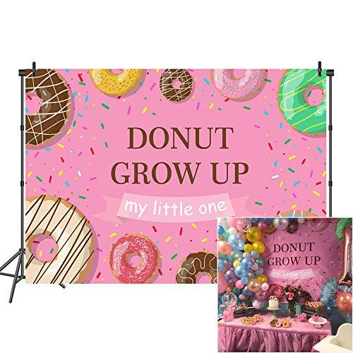 Mehofoto Donut Birthday Backdrop Donut Grow Up Party Backdrops for Birthday 7x5