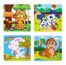 PANDA SUPERSTORE Set of 4 Cute Animals Jigsaw Puzzles Infant Puzzles Toys (Certa