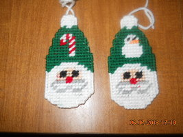 HANDMADE PLASTIC CANVAS CHRISTMAS SANTA ORNAMENTS SET OF 2 - $2.75
