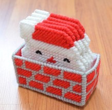 Lot of 5 Santa Chimney Coasters Holder Handmade Plastic Canvas Embroidery - $5.88