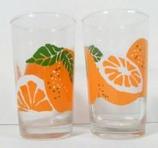 "Anchor Hocking Orange Juice Glasses 4 1/2"" Tall Retro Fruit Vintage AHC - $19.56"
