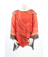 Vibrant Chic Red Off Shoulder Chains Print Madison Paige Sexy Party Plus... - $42.13