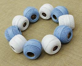 10 Cotton Yarn-5 Light Blue 5 White-Tatting-Crochet Lace Knitting Thread... - ₹845.09 INR