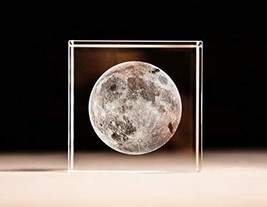Mylifestyle 3D Moon PaperweightLaser Etched in Crystal Glass Cube Birthd... - $30.90