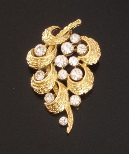 Vintage Crown Trifari© Floating Rhinestone Abstract Brooch, Gold