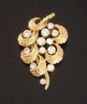 Vintage Crown Trifari© Floating Rhinestone Abstract Brooch, Gold - $125.00