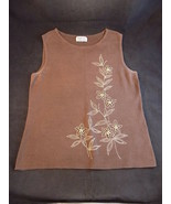 Womens SLEEVELESS TOP Brown Size M Flowers with Wooden Beads Style & Com... - $9.89