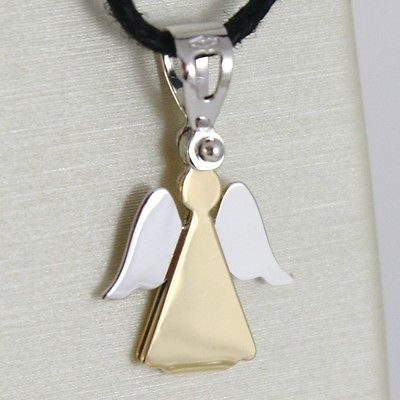 Anhänger Medaille Gelbgold und Weiß 750 18k, Engel Schutzengel, Stilisiert