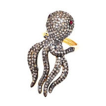 Natural Pave Diamond Ruby Gemstone Octopus Ring Fine Jewelry 925 Sterlin... - $810.63