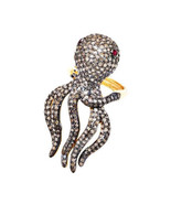 Natural Pave Diamond Ruby Gemstone Octopus Ring Fine Jewelry 925 Sterlin... - £595.10 GBP