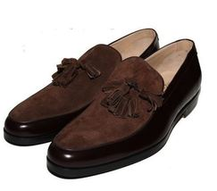 Superior Leather Men Brown Color Suede Tassel Loafer Slip Ons Party Wear Shoes image 1