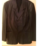 Today's Man Vintage Three Button Black Leather Sport Jacket (44R) - $70.13