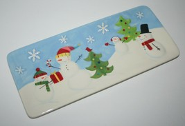 """St. Nicholas Square OH WHAT FUN 14.5"""" Treat Tray Cookie Platter Snowman ... - $24.57"""
