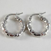 White Gold Earrings 750 18k a circle, 1.8 cm x 0.3 CM, Faceted, Bright image 3