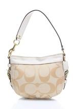 Authentic Coach bag, canvas, signature ,beige,ecru,leather strap - $67.91