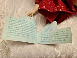 """1983 DYNASTY DOLL COLLECTION 10""""  PORCELAIN Girl In Burgundy & Pink Dress Vicky image 4"""