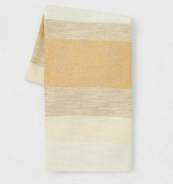 "Threshold 100% Cotton Woven Yellow Tan Cream Stripe Throw Blanket 50"" X 60"" New!"