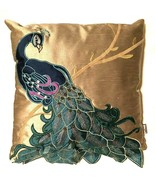 Thro Marlo Lorenz Peacock Embroidered Flared Tail Gold Throw Pillow 16 x... - $29.69