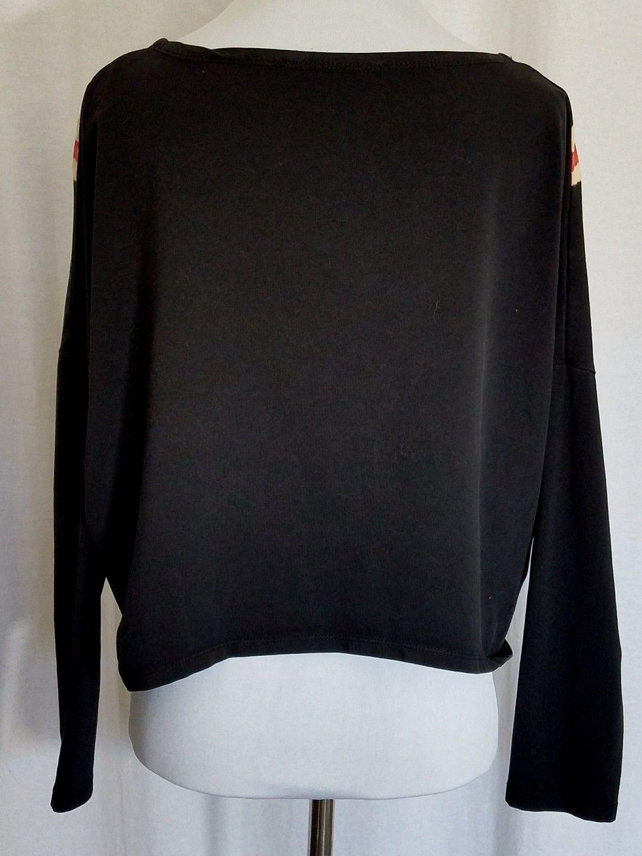 Navy Blue Union Jack Top Batwing Sleeve Cotton Othermix Myicon Size L