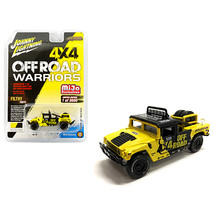 Hummer H1 Race Truck Yellow and Black with Tire Carrier Off Road Warrior... - $19.14