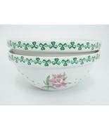 Shamrocks of Erin Porcelain Cereal Bowld White Green w Pink Flowers Iris... - $39.59