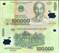 NEW AUTHENTIC POLYMER MONEY VIETNAM 100000 DONG BANKNOTE MONEY - $11.88