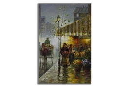 Ansavv Parisian Market Multicolor Oil On Canvas Painting - $208.00