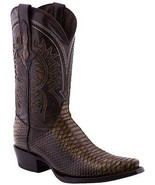 Mens Rust Sand Python Leather Cowboy Boots Snake Print Western Pointed Toe - £108.03 GBP